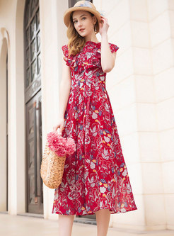 Fashion Floral Print Sweet Chiffon Skater Dress