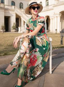 Ethnic Print Color-blocked High Waist Holiday Maxi Dress