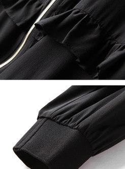 Trendy Leopard Splicing Hooded Zipper Short Coat