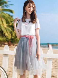 Stylish Bowknot High Waist Mesh A Line Skirt