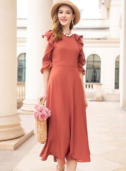 Stylish O-neck High Waist A Line Dress