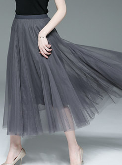 Casual Mesh Grey All-matched Skirt