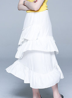 Asymmetric Falbala White Sweet Skirt