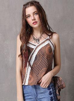 Vintage Bowknot Lace Splicing Chiffon Camis