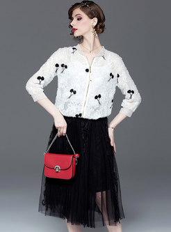 Casual Print O-neck Short Coat & Mesh A Line Skirt