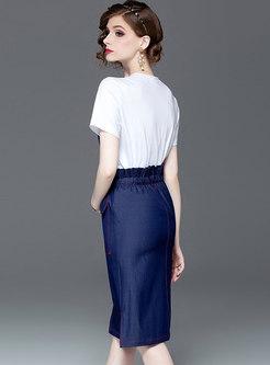 Casual O-neck T-shirt & Denim Tie-waist Sheath Skirt