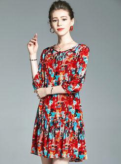 O-neck Three Quarters Sleeve Animal Print Dress