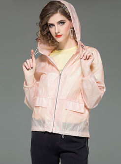 Brief Hooded Zippered Breathable Thin Coat