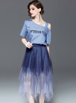 Stylish Off Shoulder T-shirt & Asymmetric Mesh Skirt