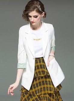Color-blocked Notched Tie-Waist Slim Blazer