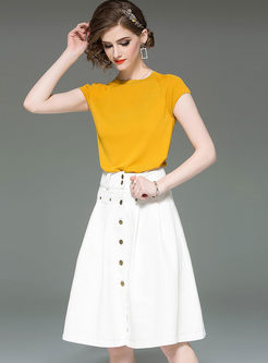 Casual O-neck Short T-shirt & High Waist Skirt