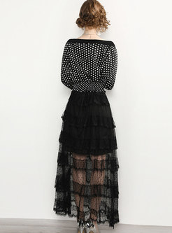 Slash Neck Polka Dot Mesh Perspective Maxi Dress