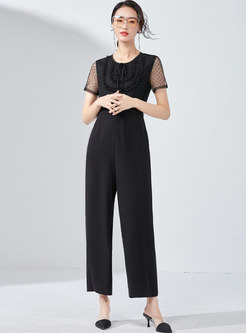 Brief Lace Mesh Splicing Tied Black High Waist Jumpsuit
