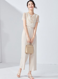 Brief Lace Mesh Splicing Tied Apricot High Waist Jumpsuit
