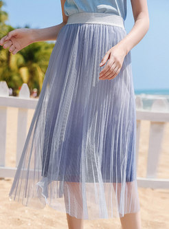 Elastic Waist Mesh Splicing Pleated Skirt