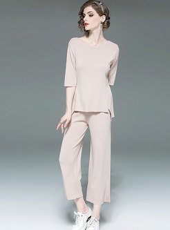Solid Color O-neck Knitted Two-piece Pant Sets