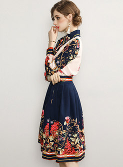 Long Sleeve Print Suit Dress
