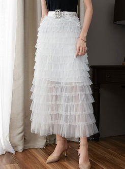 Stylish Solid Color Belted Mesh Cake Skirt