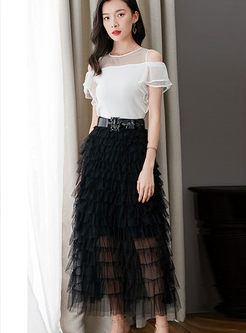 Brief High Waist Mesh Cake Maxi Skirt With Belt