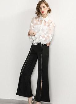 See-through White Bilouse & Split Wide Leg Pants