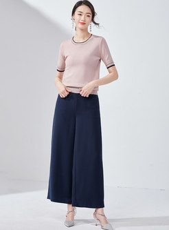 Brief O-neck Short Sleeve All-matched Thin Knitted Top