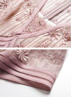 V-neck Perspective Short Sleeve Striped Maxi Dress