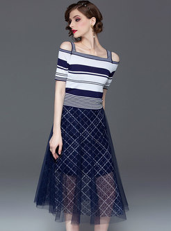 Striped Off Shoulder Knitted Top & Plaid Mesh Skirt