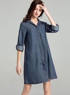 Casual Lapel Long Sleeve Single-breasted Shirt Dress