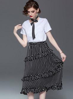 Casual O-neck Tie T-shirt & Polka Dot Falbala Skirt