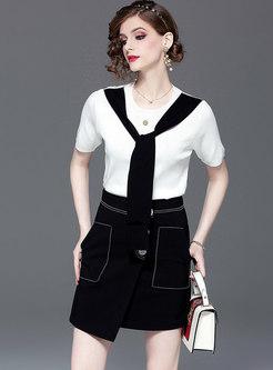 Color-blocked O-neck Tie Top & Asymmetric Mini Skirt
