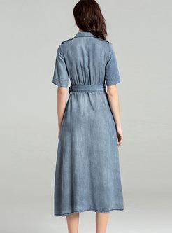 Casual Turn Down Collar Bowknot Waist Slit Dress