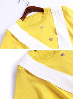 Color-blocked O-neck Tie Top & Asymmetric Sheath Skirt