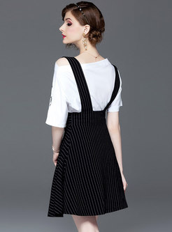 Letter Embroidered Slash Neck Top & Striped Suspender Skirt