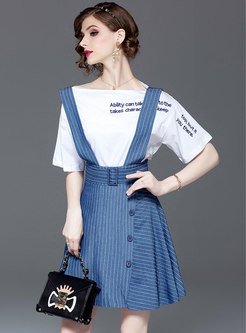 Casual Slash Neck Top & Striped Suspender Skirt
