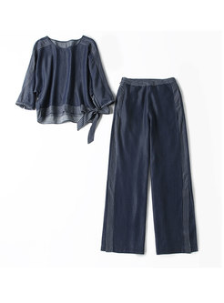 Striped Splicing Denim O-neck Top & Slit Wide Leg Pants