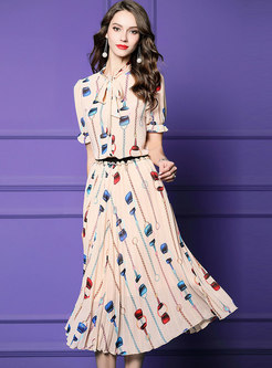 Print Tie-collar Flare Sleeve Top & Pleated Skirt
