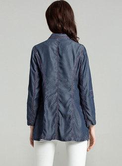 Stylish Denim Turn Down Collar Blazer