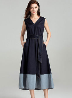 Casual V-neck Sleeveless Bowknot Waist Maxi Dress