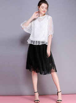 Chic Lace Splicing Elastic Waist Pleated Skirt