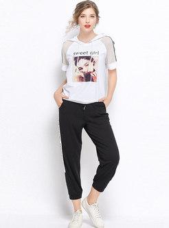 Casual Print Hooded Top & Harem Pants