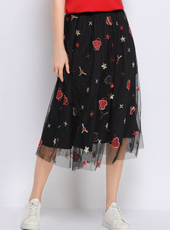 Chic Mesh Embroidered A Line Skirt