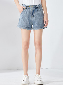 High Waist Denim Loose Short Pants