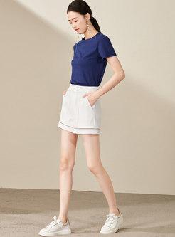 Brief Pure Color Lace Splicing Short Pants