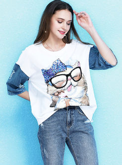 Brief O-neck Cartoon Print Splicing T-shirt