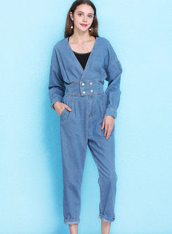 Fashion V-neck Backless Tied Loose Jumpsuits