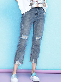 Chic High Waist Hole Denim Straight Pants