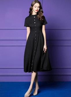 Vintage Black Single-breasted Skater Dress