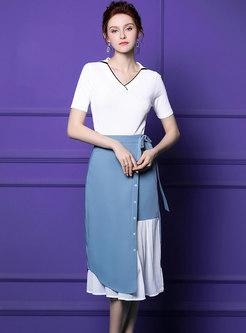Fashion V-neck T-Shirt & Retro Splicing Sheath Skirt