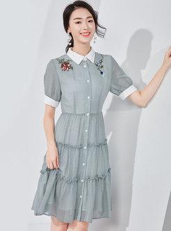 Embroidered Lapel High Waist T-shirt Dress
