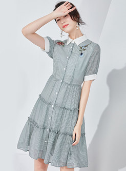 Embroidered Lapel High Waist T-shirt Dress